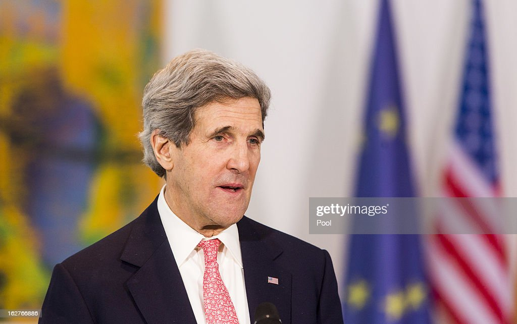 U.S. Secretary of State <a gi-track='captionPersonalityLinkClicked' href=/galleries/search?phrase=John+Kerry&family=editorial&specificpeople=154885 ng-click='$event.stopPropagation()'>John Kerry</a> speaks during a statement to the press on February 26, 2013 in Berlin, Germany. Kerry is in Germany on his first visit abroad as secretary of state, on an 11-day trip that will also take in Paris, Rome, Ankara, Cairo, Riyadh, Abu Dhabi and Doha, before he returns to the United States on March 6. Kerry spent yesterday in London, holding talks with Prime Minister David Cameron and Foreign Secretary William Hague.