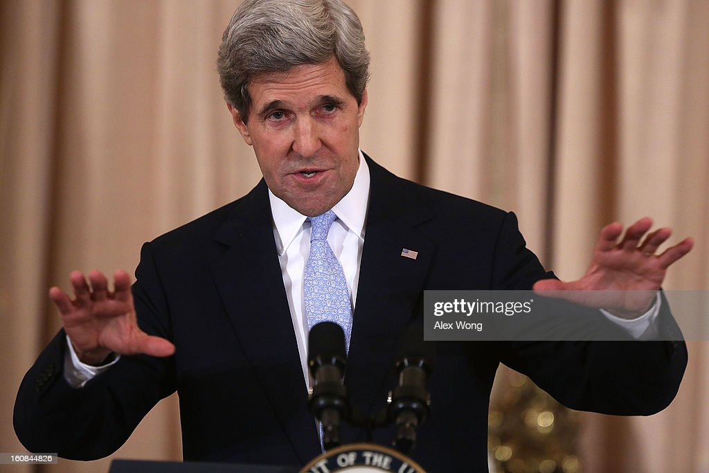 U.S. Secretary of State <a gi-track='captionPersonalityLinkClicked' href=/galleries/search?phrase=John+Kerry&family=editorial&specificpeople=154885 ng-click='$event.stopPropagation()'>John Kerry</a> speaks during his ceremonial swearing in at the State Department February 6, 2013 in Washington, DC. Kerry was officially sworn in on February 1 at the U.S. Capitol as the 68th Secretary of State, succeeding Hillary Clinton.