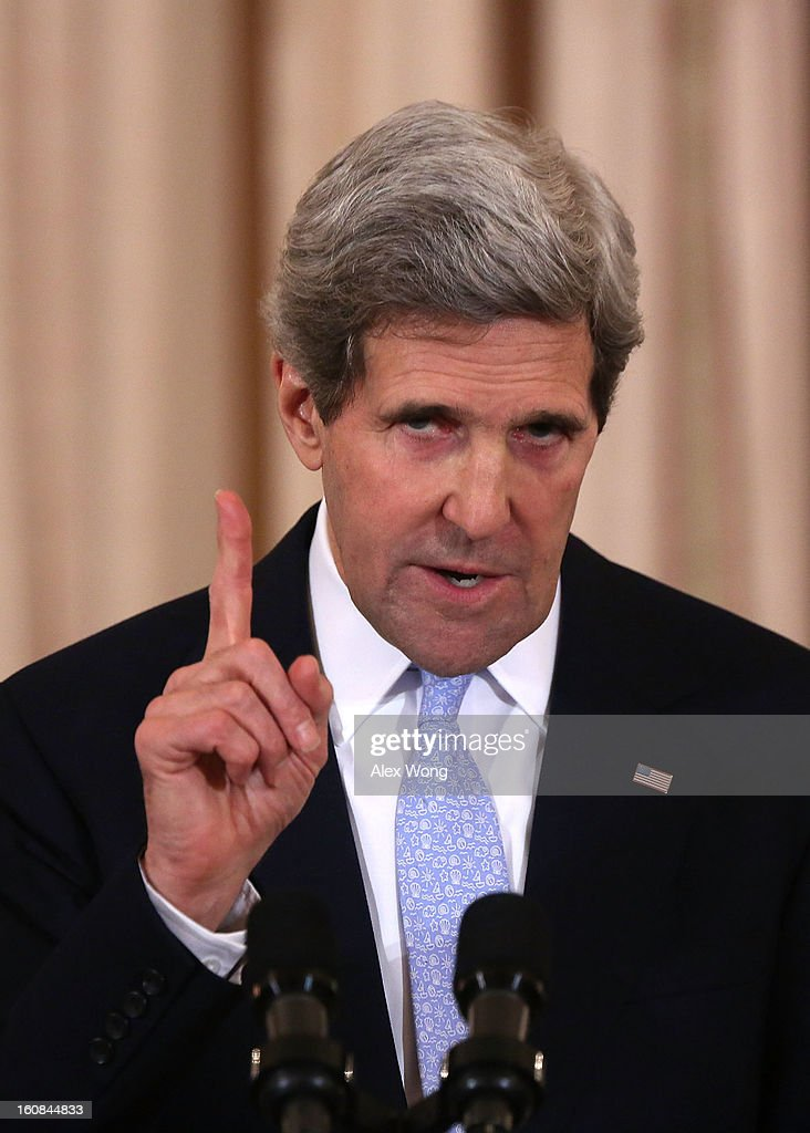 U.S. Secretary of State John Kerry speaks during his ceremonial swearing in at the State Department February 6, 2013 in Washington, DC. Kerry was officially sworn in on February 1 at the U.S. Capitol as the 68th Secretary of State, succeeding Hillary Clinton.