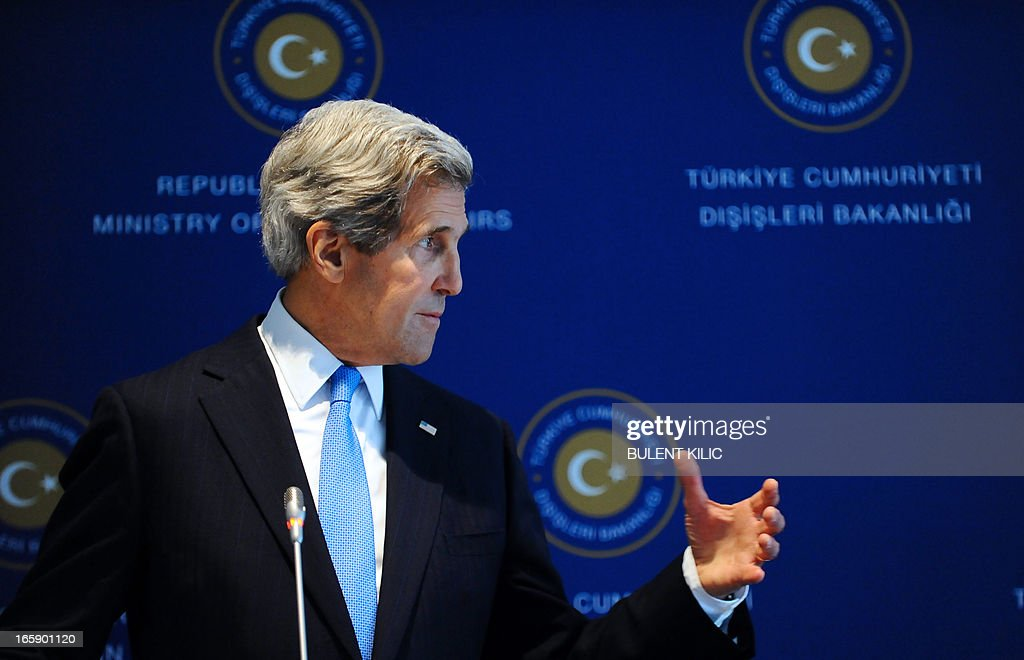 US Secretary of State John Kerry speaks during his press conference with his Turkish counterpart on April 7, 2013 in Istanbul. Kerry arrived on April 7 in Turkey to discuss Syria's civil war and the Middle East peace process as well as to bolster the Turkish-Israeli rapprochement brokered two weeks ago by Washington.