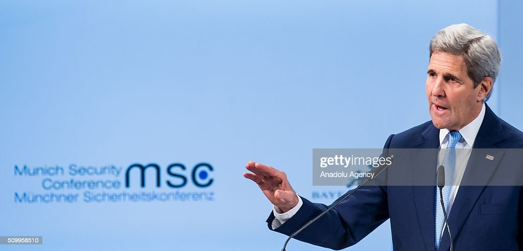 U.S. Secretary of State John Kerry speaks during the 2016 Munich Security Conference at the Bayerischer Hof hotel on February 13, 2016 in Munich, Germany. The annual event brings together government representatives and security experts from across the globe and this year the conflict in Syria will be the main issue under discussion.