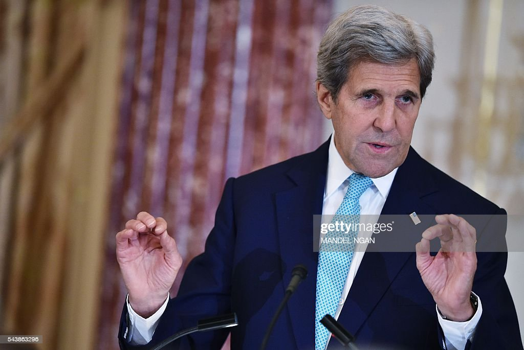 US Secretary of State John Kerry speaks during the release of the 2016 Trafficking in Persons Report on June 30, 2016 at the State Department in Washington, DC. / AFP / Mandel NGAN