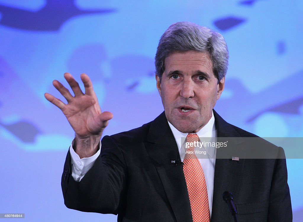 U.S. Secretary of State John Kerry speaks during the second and the final day of the 'Our Ocean' conference June 17, 2014 at the State Department in Washington, DC. The two-day conference was focused on 'sustainable fisheries, marine pollution, and ocean acidification.'
