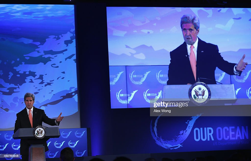 U.S. Secretary of State <a gi-track='captionPersonalityLinkClicked' href=/galleries/search?phrase=John+Kerry&family=editorial&specificpeople=154885 ng-click='$event.stopPropagation()'>John Kerry</a> speaks during the second and the final day of the 'Our Ocean' conference June 17, 2014 at the State Department in Washington, DC. The two-day conference was focused on 'sustainable fisheries, marine pollution, and ocean acidification.'
