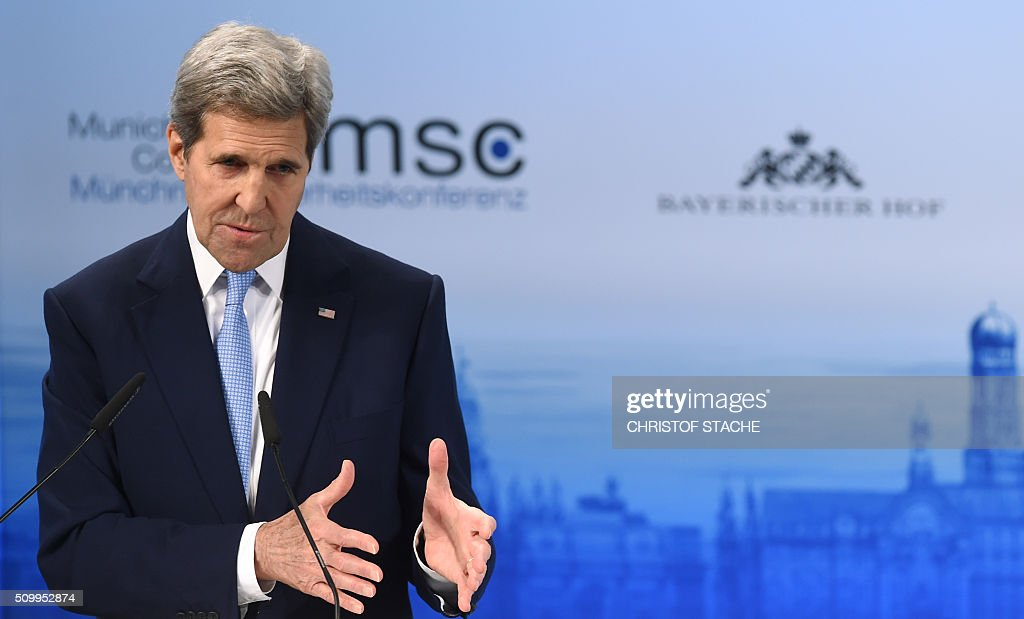 US Secretary of State John Kerry speaks during the second day of the 52nd Munich Security Conference (MSC) in Munich, southern Germany, on February 13, 2016. Russia must change its military targeting as it backs the Syrian regime, US Secretary of State John Kerry said, as world powers seek a cessation of hostilities in the war-torn country within a week. / AFP / Christof STACHE
