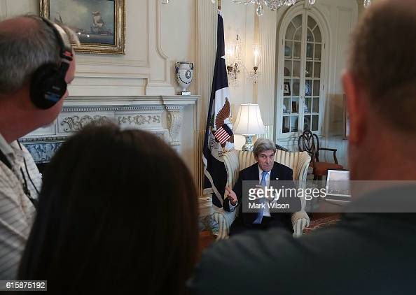 Secretary of State John Kerry speaks to the media after a meeting at the Department of State October 20 2016 in Washington DC Kerry met with Saudi...