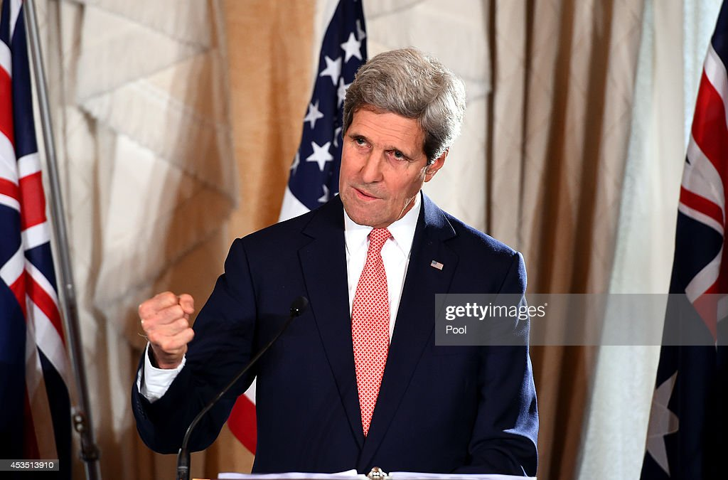 US Secretary of State <a gi-track='captionPersonalityLinkClicked' href=/galleries/search?phrase=John+Kerry&family=editorial&specificpeople=154885 ng-click='$event.stopPropagation()'>John Kerry</a> speaks to the media during a press conference at the conclusion of the AUSMIN talks at Admiralty House on August 12, 2014 in Sydney, Australia. US Secretary of State <a gi-track='captionPersonalityLinkClicked' href=/galleries/search?phrase=John+Kerry&family=editorial&specificpeople=154885 ng-click='$event.stopPropagation()'>John Kerry</a> and Defence Secretary Chuck Hagel are meeting with their Australian counterparts Australian Foreign Minister Julie Bishop and Australian Defence Minister David Johnston at the annual Australia-United States Ministerial Consultations (AUSMIN), which will focus on regional security and enhanced military co-operation.