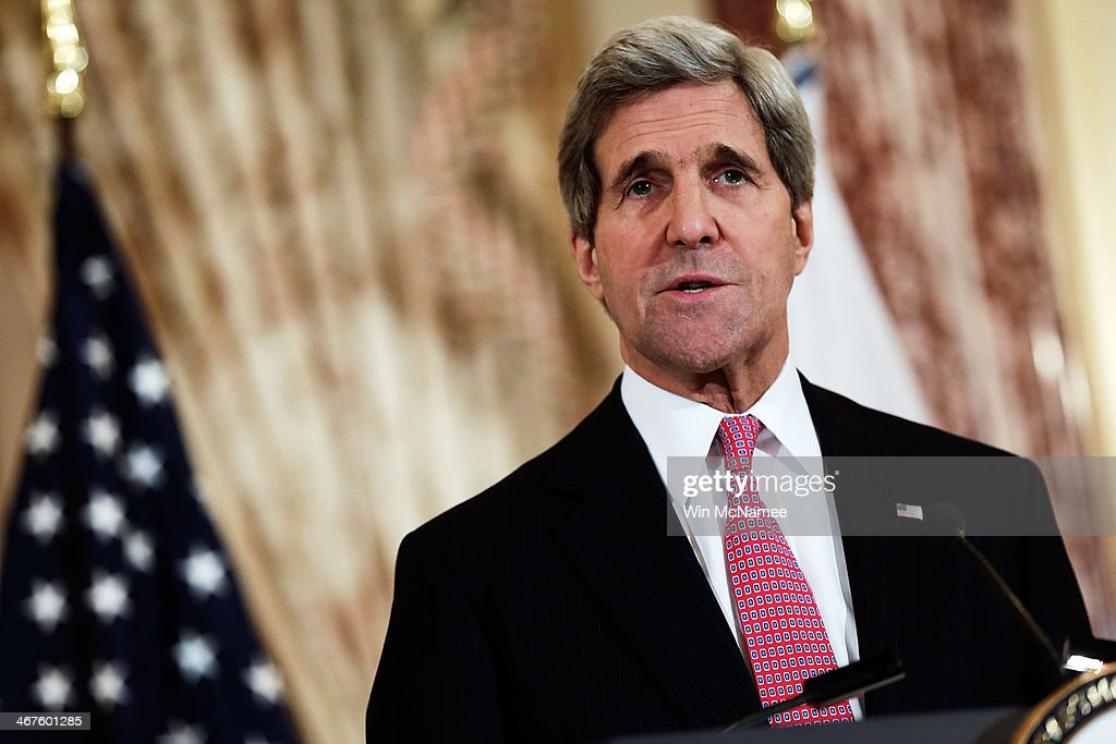 U.S. Secretary of State <a gi-track='captionPersonalityLinkClicked' href=/galleries/search?phrase=John+Kerry&family=editorial&specificpeople=154885 ng-click='$event.stopPropagation()'>John Kerry</a> speaks while delivering a joint statement with Japanese Foreign Minister Fumio Kishida at the State Department February 7, 2014 in Washington, DC. The two diplomatic leaders discussed a wide range of bilateral issues during their meetings at the State Department.