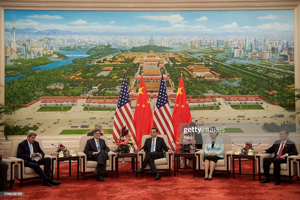 US Secretary of State <a gi-track='captionPersonalityLinkClicked' href=/galleries/search?phrase=John+Kerry&family=editorial&specificpeople=154885 ng-click='$event.stopPropagation()'>John Kerry</a> (L) speaks with China's President <a gi-track='captionPersonalityLinkClicked' href=/galleries/search?phrase=Xi+Jinping&family=editorial&specificpeople=2598986 ng-click='$event.stopPropagation()'>Xi Jinping</a> (R) as they sit next to Chinese vice premiers <a gi-track='captionPersonalityLinkClicked' href=/galleries/search?phrase=Liu+Yandong&family=editorial&specificpeople=4375362 ng-click='$event.stopPropagation()'>Liu Yandong</a> (R) and US Treasury Secretary Jacob Lew (L) at the Great Hall of the People at the end of the eight round of U.S-China strategic and economic dialogues on June 7, 2016 in Beijing, China. Kerry has been in China for talks on a variety of issues including seeking diplomatic solutions for the South China Sea.