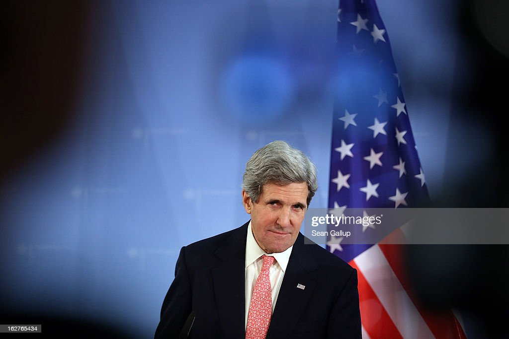 U.S. Secretary of State John Kerry speaks with German Foreign Minister Guido Westerelle (not pictured) to the media following talks at the Foreign Ministry on February 2, 2013 in Berlin, Germany. Kerry is scheduled to meet with German Chancellor Angela Merkel and Russian Foreign Minister Sergey Lavrov later in the day.