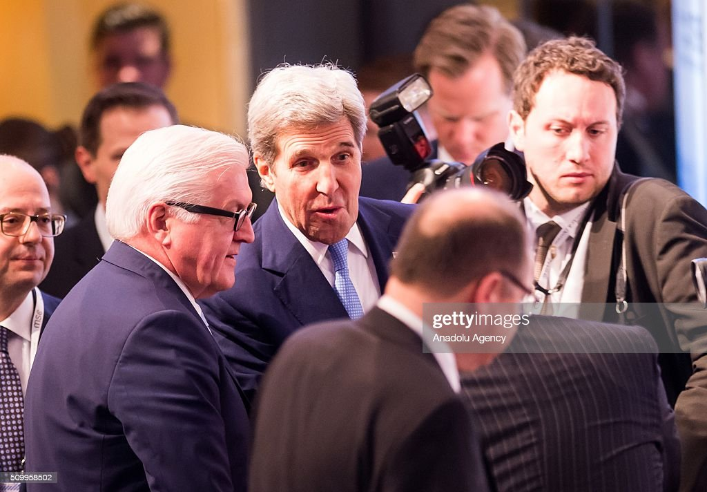 U.S. Secretary of State John Kerry (C) speaks with German Foreign Minister Frank-Walter Steinmeier (L) during the 2016 Munich Security Conference at the Bayerischer Hof hotel on February 13, 2016 in Munich, Germany. The annual event brings together government representatives and security experts from across the globe and this year the conflict in Syria will be the main issue under discussion.