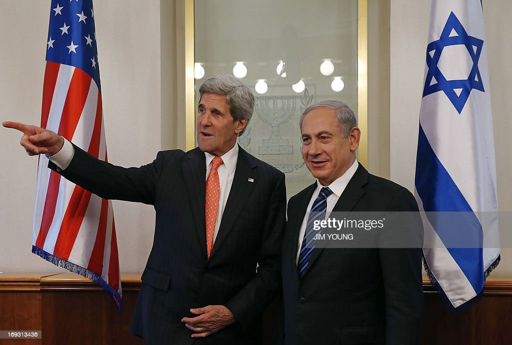 US Secretary of State John Kerry (L) speaks with Israeli Prime Minister Benjamin Netanyahu during a meeting in Jerusalem on May 23, 2013. Kerry flew in to Jerusalem as he kept up a push to bring Israelis and Palestinians back to peace negotiations amid a growing scepticism over his efforts.