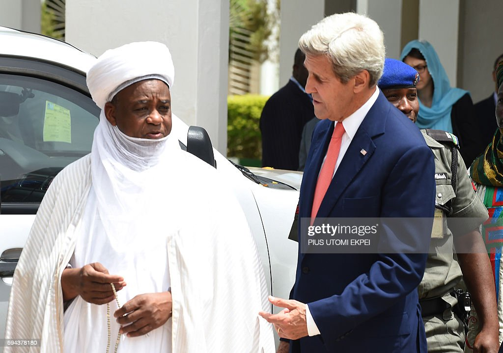 US Secretary of State John Kerry speaks with Sokoto Sultan and PresidentGeneral of the Nigerian National Supreme Council for Islamic Affairs Muhammad...