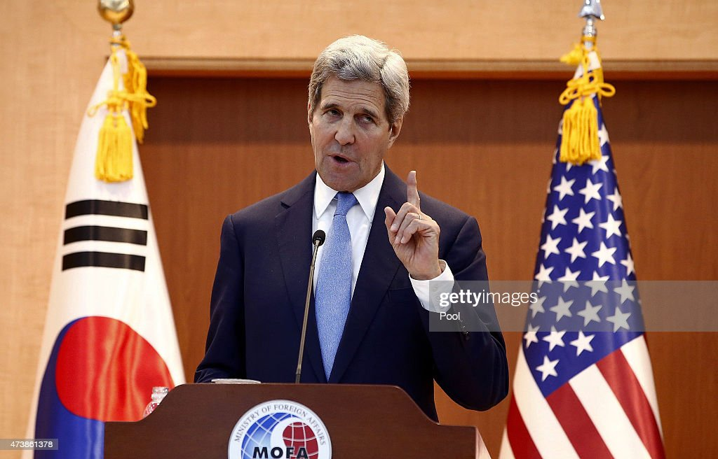 Secretary of State <a gi-track='captionPersonalityLinkClicked' href=/galleries/search?phrase=John+Kerry&family=editorial&specificpeople=154885 ng-click='$event.stopPropagation()'>John Kerry</a> speaks with South Korean foreign minister Yun Byung-Se (not pictured) during a joint press conference after their meeting at the Ministry of Foreign Affairs on May 18, 2015 in Seoul, South Korea. The U.S. Secretary of State <a gi-track='captionPersonalityLinkClicked' href=/galleries/search?phrase=John+Kerry&family=editorial&specificpeople=154885 ng-click='$event.stopPropagation()'>John Kerry</a> is visiting South Korea for two days to discuss issues including President Park's upcoming visit to the United States.