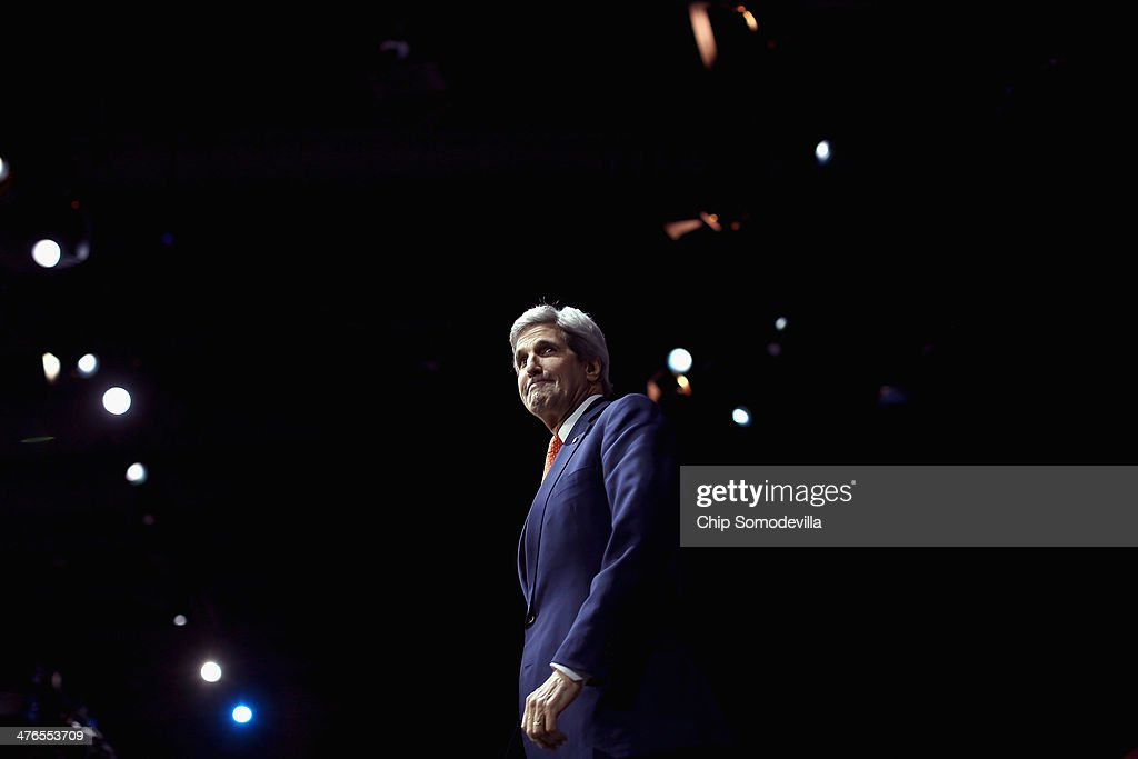 U.S. Secretary of State <a gi-track='captionPersonalityLinkClicked' href=/galleries/search?phrase=John+Kerry&family=editorial&specificpeople=154885 ng-click='$event.stopPropagation()'>John Kerry</a> takes the stage before delivering remarks to the American Israel Public Affairs Committee's Policy Conference at the Walter Washington Convention Center March 3, 2014 in Washington, DC. Kerry is scheduled to leave directly from the AIPAC conference to travel to Kiev to meet with members of Ukraine's new government.