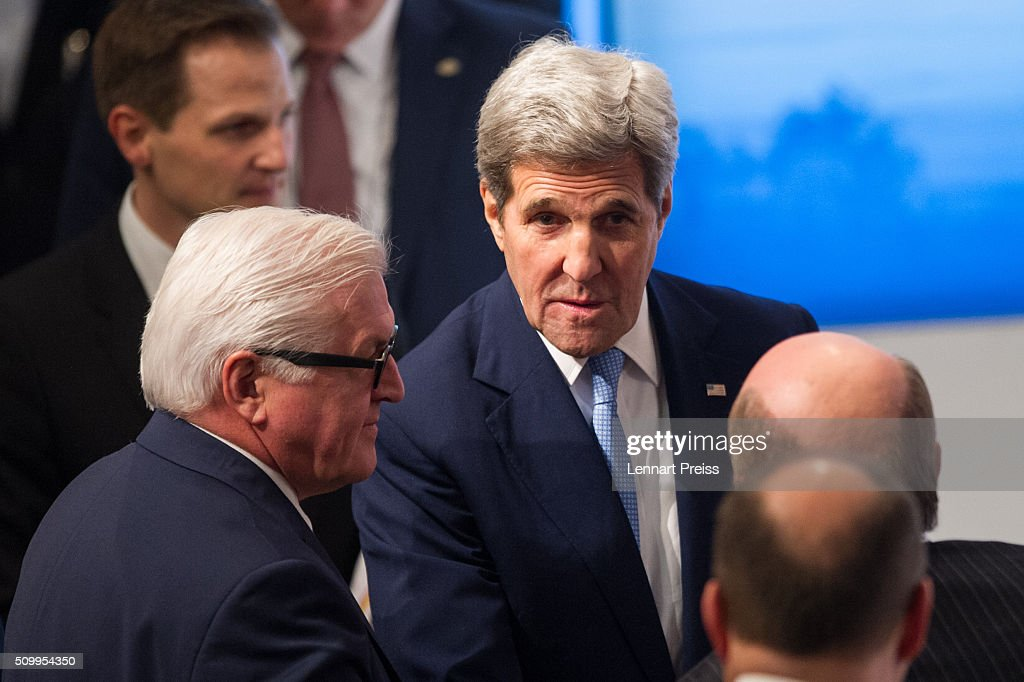 US Secretary of State <a gi-track='captionPersonalityLinkClicked' href=/galleries/search?phrase=John+Kerry&family=editorial&specificpeople=154885 ng-click='$event.stopPropagation()'>John Kerry</a> (C) talks to german Minister of Foreign Affairs <a gi-track='captionPersonalityLinkClicked' href=/galleries/search?phrase=Frank-Walter+Steinmeier&family=editorial&specificpeople=603500 ng-click='$event.stopPropagation()'>Frank-Walter Steinmeier</a> (L) at the 2016 Munich Security Conference at the Bayerischer Hof hotel on February 13, 2016 in Munich, Germany. The annual event brings together government representatives and security experts from across the globe and this year the conflict in Syria will be the main issue under discussion.