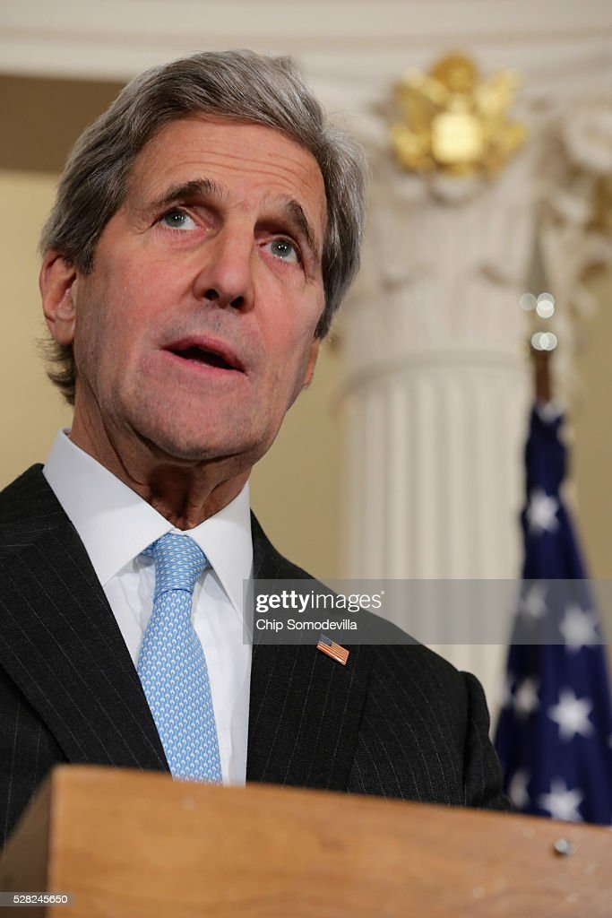 U.S. Secretary of State John Kerry talks to reporters in the Treaty Room at the State Department May 4, 2016 in Washington, DC. Kerry announced that the United States and Russia have agreed to extend the Syria truce to Aleppo and said that President Bashar al-Assad should start a political transition by August 1 to leave office and end the 5-year-old civil war.
