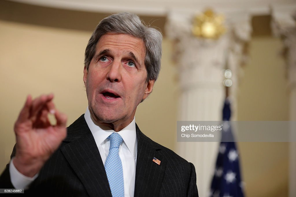 U.S. Secretary of State <a gi-track='captionPersonalityLinkClicked' href=/galleries/search?phrase=John+Kerry&family=editorial&specificpeople=154885 ng-click='$event.stopPropagation()'>John Kerry</a> talks to reporters in the Treaty Room at the State Department May 4, 2016 in Washington, DC. Kerry announced that the United States and Russia have agreed to extend the Syria truce to Aleppo and said that President Bashar al-Assad should start a political transition by August 1 to leave office and end the 5-year-old civil war.