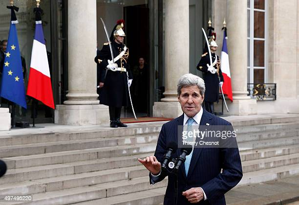 Secretary of State John Kerry talks to the media after a meeting with French President Francois Hollande at the Elysee Presidential Palace on...