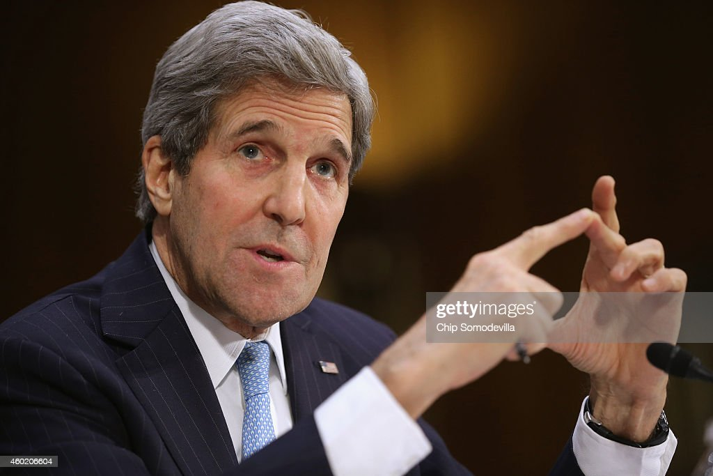 Secretary of State <a gi-track='captionPersonalityLinkClicked' href=/galleries/search?phrase=John+Kerry&family=editorial&specificpeople=154885 ng-click='$event.stopPropagation()'>John Kerry</a> testifies about a congressional Authorization for the Use of Military Force against the Islamic State, the violent jihadist group that has seized parts of Syria and Iraq, during a hearing of the Senate Foreign Relations Committee in the Dirksen Senate Office Building on Capitol Hill December 9, 2014 in Washington, DC. Kerry debated back and forth with senators from both parties about the differences between what Congress is proposing for the AUMF and what the Obama Administration wants.