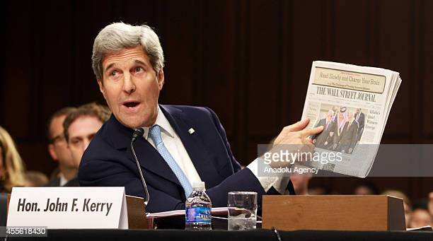 S Secretary of State John Kerry testifies about the Islamic State of Iraq and the Levant before the Senate Foreign Relations Committee on Capitol...