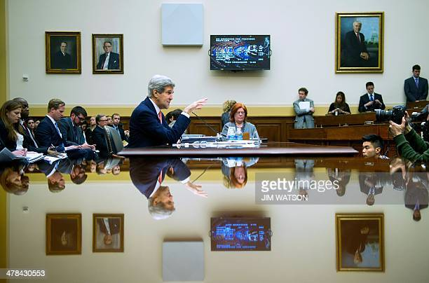 Secretary of State John Kerry testifies before the House Foreign Affairs Committee on the FY2015 Department of Defense budget on Capitol Hill in...
