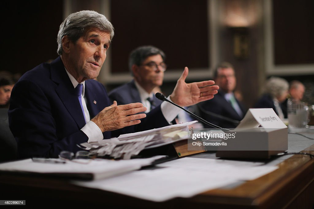 Secretary of State John Kerry testifies before the Senate Armed Services Committee about the nuclear deal struck between Iran and six nations...