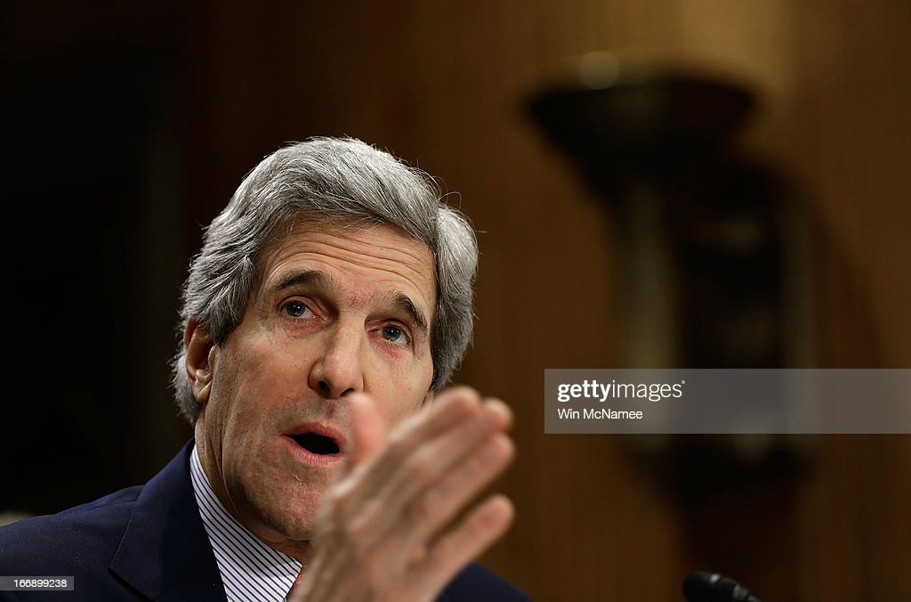 U.S. Secretary of State John Kerry testifies before the Senate Foreign Relations Committee April 18, 2013 in Washington, DC. The committee heard testimony on the topic of 'National Security and Foreign Policy Priorities in the Fiscal Year 2014 Affairs Budget.'