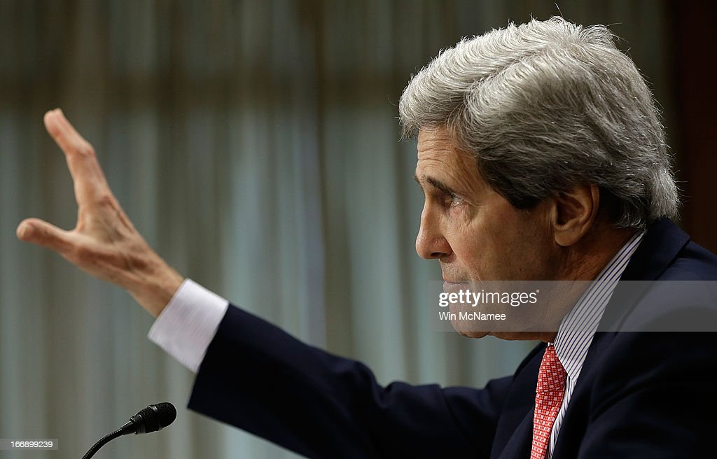 U.S. Secretary of State <a gi-track='captionPersonalityLinkClicked' href=/galleries/search?phrase=John+Kerry&family=editorial&specificpeople=154885 ng-click='$event.stopPropagation()'>John Kerry</a> testifies before the Senate Foreign Relations Committee April 18, 2013 in Washington, DC. The committee heard testimony on the topic of 'National Security and Foreign Policy Priorities in the Fiscal Year 2014 Affairs Budget.'