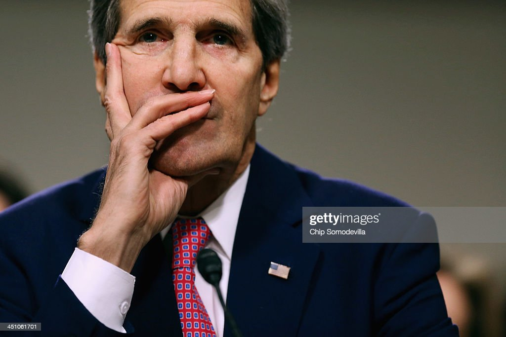 U.S. Secretary of State <a gi-track='captionPersonalityLinkClicked' href=/galleries/search?phrase=John+Kerry&family=editorial&specificpeople=154885 ng-click='$event.stopPropagation()'>John Kerry</a> testifies before the Senate Foreign Relations Committee about the Convention on the Rights of Persons with Disabilities in the Dirksen Senate Office Building on Capitol Hill November 21, 2013 in Washington, DC. Kerry encouraged the committee to vote for adoption of the treaty which he says will bring standards enjoyed by handicapped and disabled people in the United States to the international community.