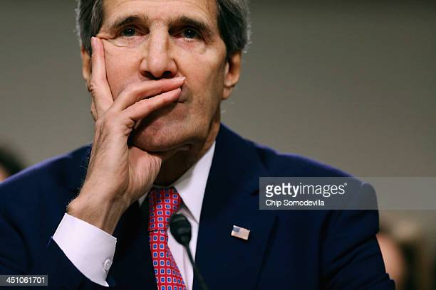S Secretary of State John Kerry testifies before the Senate Foreign Relations Committee about the Convention on the Rights of Persons with...