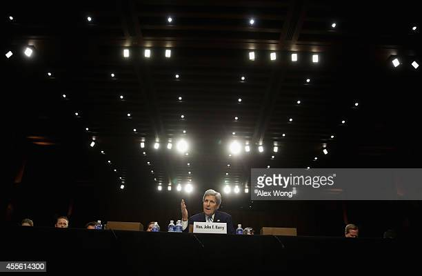 S Secretary of State John Kerry testifies during a hearing before the Senate Foreign Relations Committee September 17 2014 on Capitol Hill in...