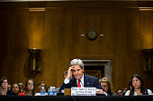 S Secretary of State John Kerry testifies during a Senate Foreign Relations Committee hearing concerning the 2015 international affairs budget on...