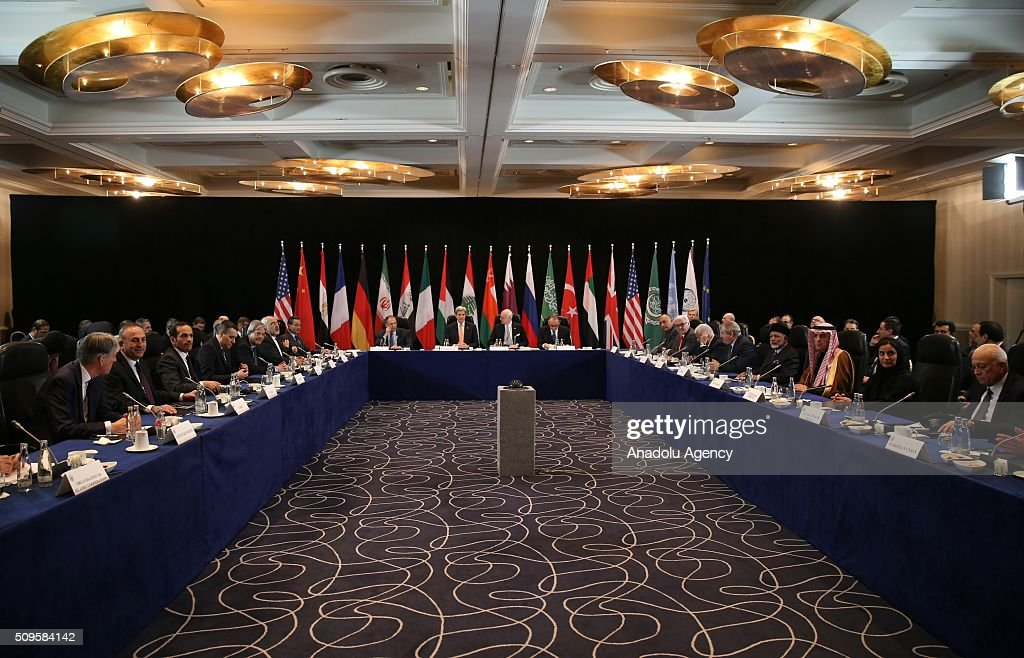 US Secretary of State John Kerry (center left 2) the International Syrian Support Group Meeting in Munich, on February 11, 2016.