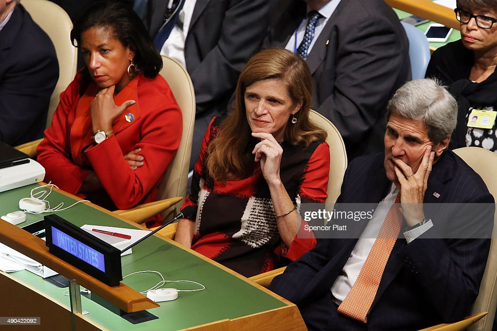 U.S. Secretary of State John Kerry, United States Ambassador to the United Nations Samantha Power (center) and United States National Security Advisor Susan Rice watch as President Obama addresses the United Nations General Assembly on September 28, 2015 in New York City. The ongoing war in Syria and the refugee crisis it has spawned are playing a backdrop to this years 70th annual General Assembly meeting of global leaders.