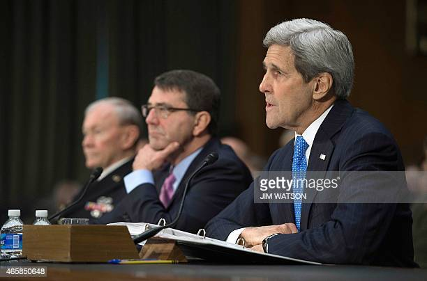 US Secretary of State John Kerry US Secretary of Defense Ashton Carter and Chairman of the Joint Chiefs of Staff General Martin Dempsey testify...