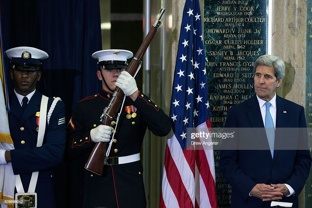 U.S. Secretary of State <a gi-track='captionPersonalityLinkClicked' href=/galleries/search?phrase=John+Kerry&family=editorial&specificpeople=154885 ng-click='$event.stopPropagation()'>John Kerry</a> waits to speak during the American Foreign Service Association (AFSA) Memorial Plaque Ceremony for Steven Farley, at the U.S. State Department, May 6, 2016, in Washington, DC. Steven Farley, a State Department employee, died on June 4, 2008 when an improvised explosive device detonated prior to a meeting between American officials and members of the Sadr City District Council. Housed in the diplomatic lobby of the State Department, the memorial wall plaques honor diplomats who have given their lives in the line of duty.