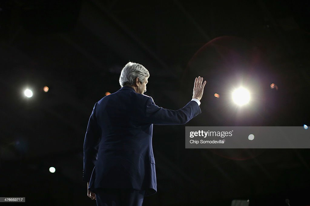 U.S. Secretary of State John Kerry walks off the stage after addressing the American Israel Public Affairs Committee's Policy Conference at the Walter Washington Convention Center March 3, 2014 in Washington, DC. Kerry is scheduled to leave directly from the AIPAC conference to travel to Kiev to meet with members of Ukraine's new government.