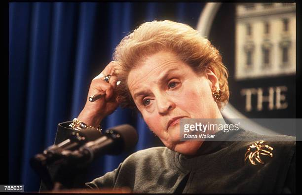 Secretary of State Madeleine Albright holds a briefing on Israel January 23 1998 in Washington DC Albright discussed the progress of President...