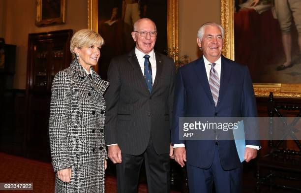 US Secretary of State Rex Tillerson and Australian Foreign Minister Julie Bishop pose with Governor of New South Wales David Hurley at Government...