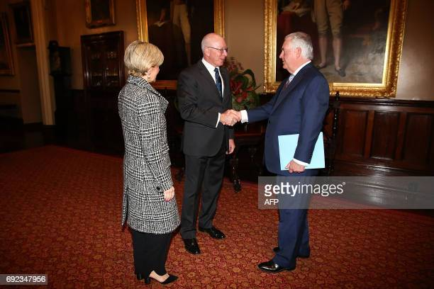 US Secretary of State Rex Tillerson and Australian Foreign Minister Julie Bishop are greeted by Governor of New South Wales David Hurley at...