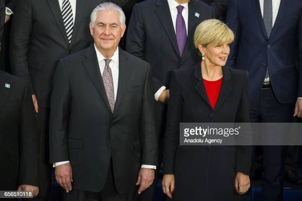 S Secretary of State Rex Tillerson and Australian Minister for Foreign Affairs Julie Bishop are seen during the group photo session of the Meeting of...