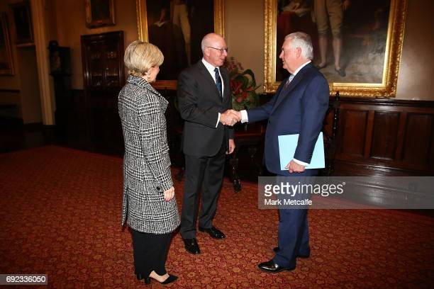 Secretary of State Rex Tillerson and Australian Minister for Foreign Affairs Julie Bishop are greeted by Governor of NSW David Hurley at Government...