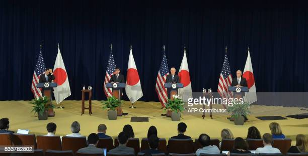 US Secretary of State Rex Tillerson and Defense Secretary James Mattis take part in a joint press conference with Japan's Foreign Minister Taro Kono...