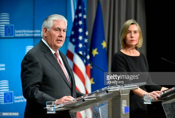 US Secretary of State Rex Tillerson and EU foreign policy chief Federica Mogherini give a joint press conference at the European Union Council...