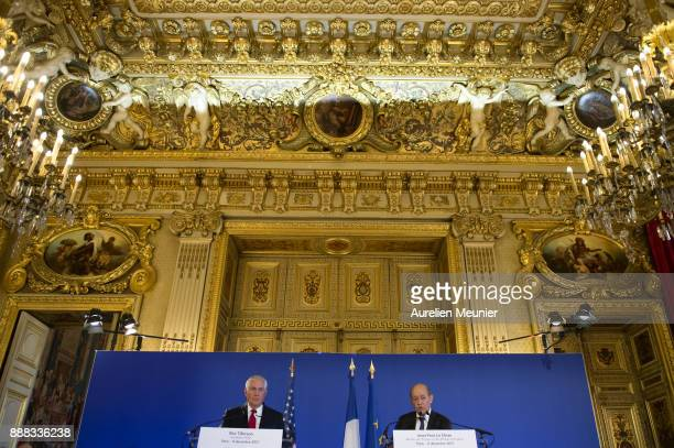 S Secretary of State Rex Tillerson and French Minister of Foreign Affairs Jean Yves Le Drian answer the press after a meeting on December 8 2017 in...