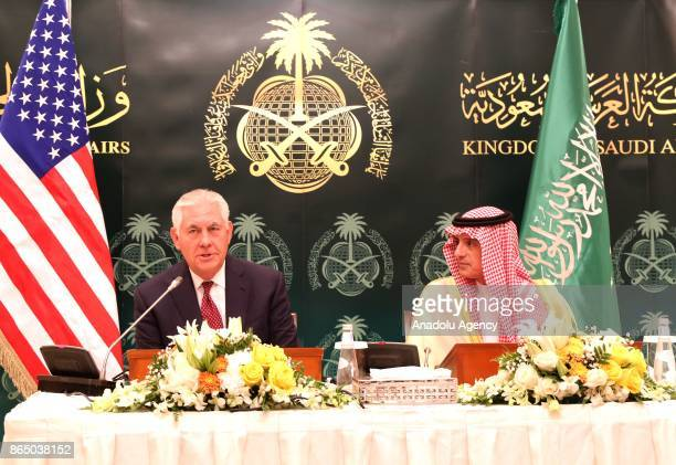 S Secretary of State Rex Tillerson and his Saudi counterpart Adel AlJubeir hold a joint press conference during the SaudiIraqi Coordination Council...