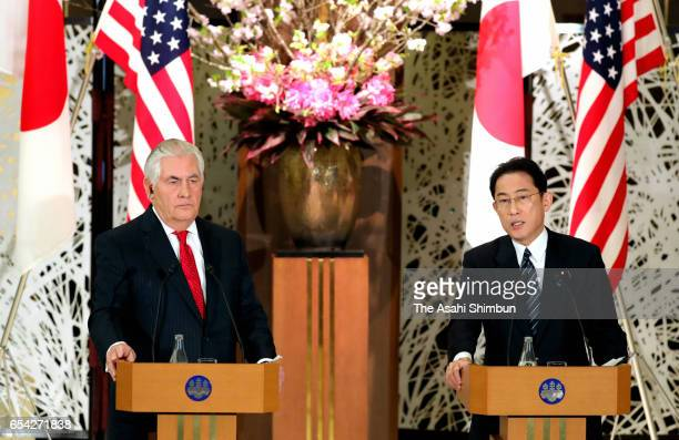 US Secretary of State Rex Tillerson and Japanese Foreign Minister Fumio Kishida attend a joint press conference following their meeting at Iikukra...