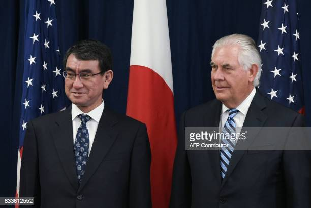 US Secretary of State Rex Tillerson and Japan's Foreign Minister Taro Kono pose for a photo ahead of the start of the USJapan Security Consultative...