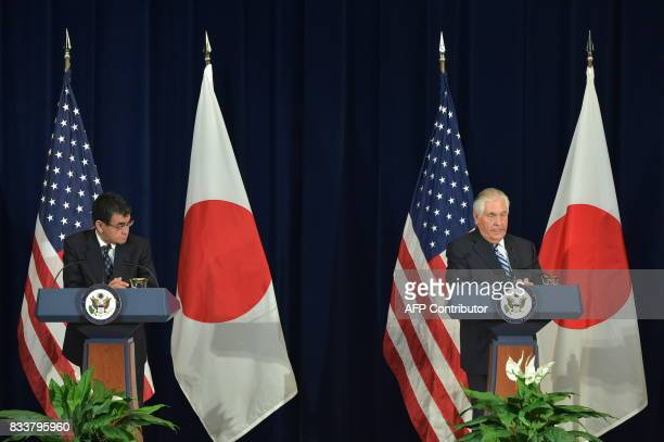 US Secretary of State Rex Tillerson and Japan's Foreign Minister Taro Kono take part in a joint press conference with Defense Minister Itsunori...